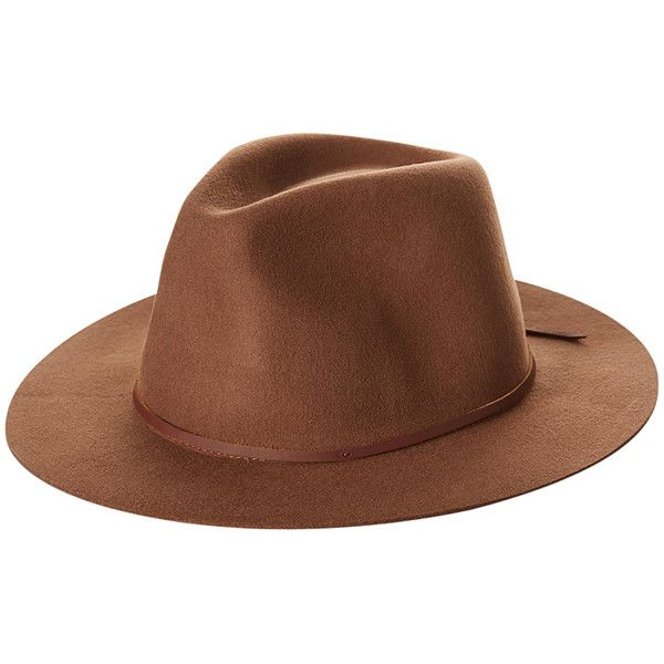 Mens Brixton Wesley Fedora Hat Brown Felt ($67) ❤ liked on Polyvore featuring men's fashion, men's accessories, men's hats, accessories, brown, fedora hats, mens hats, mens felt fedora, mens fedora hats and mens headband