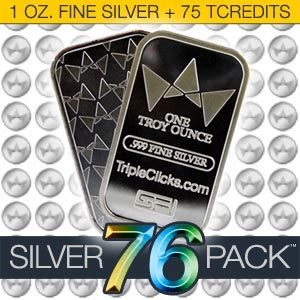 Silver76Pack--Silver Bar (1 Ounce) + 75 TCredits
