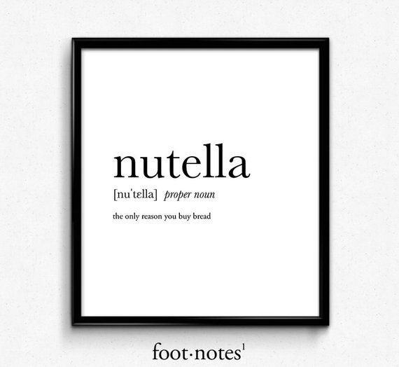 Nutella definition, college dorm girl, dictionary art, minimalist poster, funny definition print, dorm decor, wedding gift, office decor