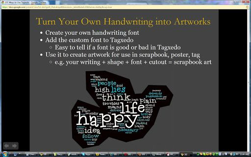101 Ways to Use Tagxedo - Tagxedo is an online word cloud creator. Images can be uploaded to provided an added visual to the word clouds.