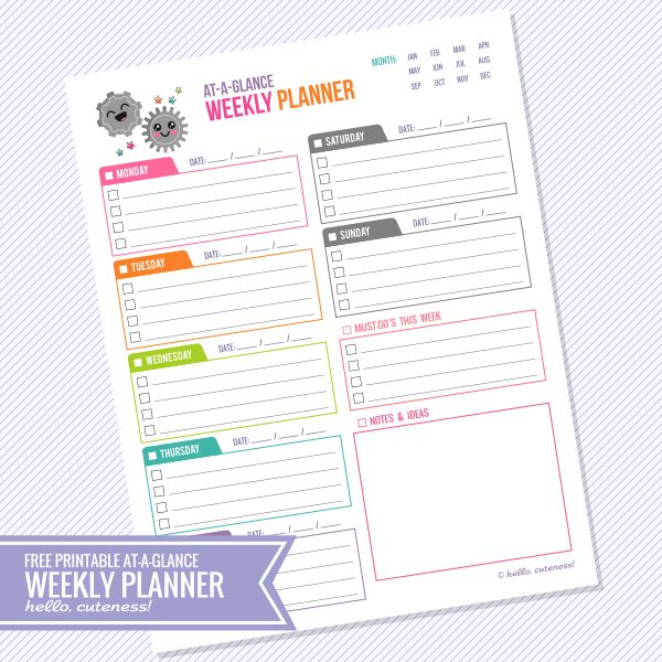 25+ Best Week At A Glance Printable Ideas On Pinterest | At A