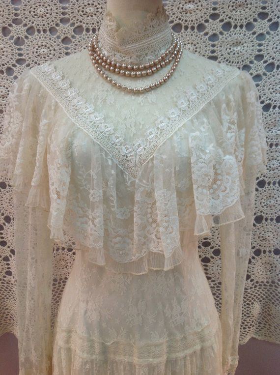 Sale Vintage Jessica McClintock Sheer Lace by BlessingKnotBridal