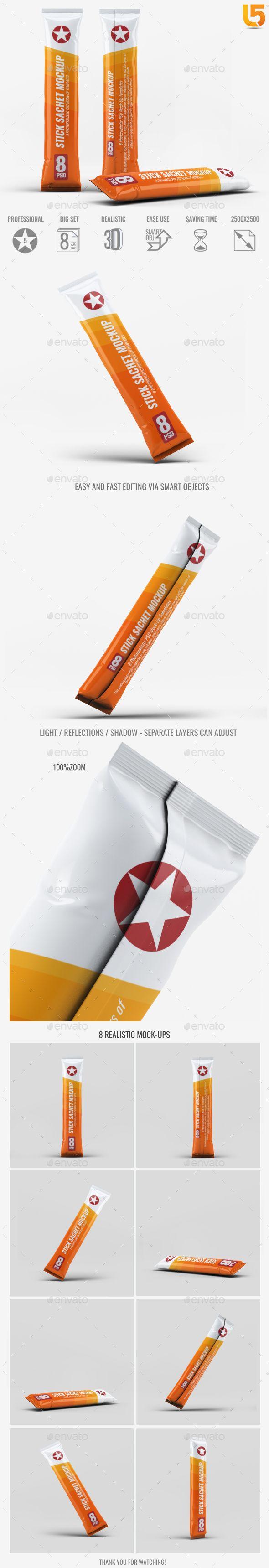 Stick Sachet MockUp — Photoshop PSD #medical #packet • Available here → https://graphicriver.net/item/stick-sachet-mockup/18701384?ref=pxcr
