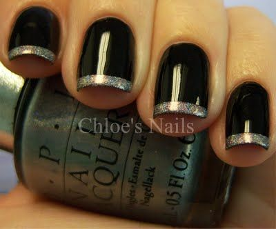 Nails: Nails Art, Nails Black Tips, French Manicures, Black Nails Polish Ideas, Black Nails Silver Tips, Nails Ideas, Ds Sapphire, Black Manicures Ideas, Halloween Nails