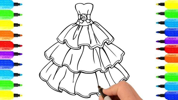 How To Draw Dress Skirt Coloring Dress For Girls Drawing Dress