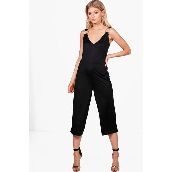 Boohoo Petite Violet O Ring Culotte Jumpsuit ($16) ❤ liked on Polyvore featuring jumpsuits, petite jumpsuit, white jumpsuit, white jump suit, boohoo jumpsuits and jump suit