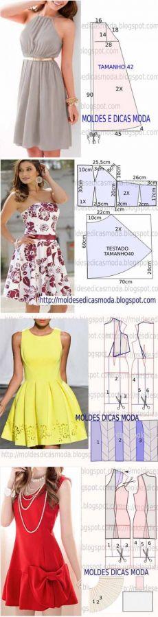 5 patrones más simples de los vestidos de las mujeres