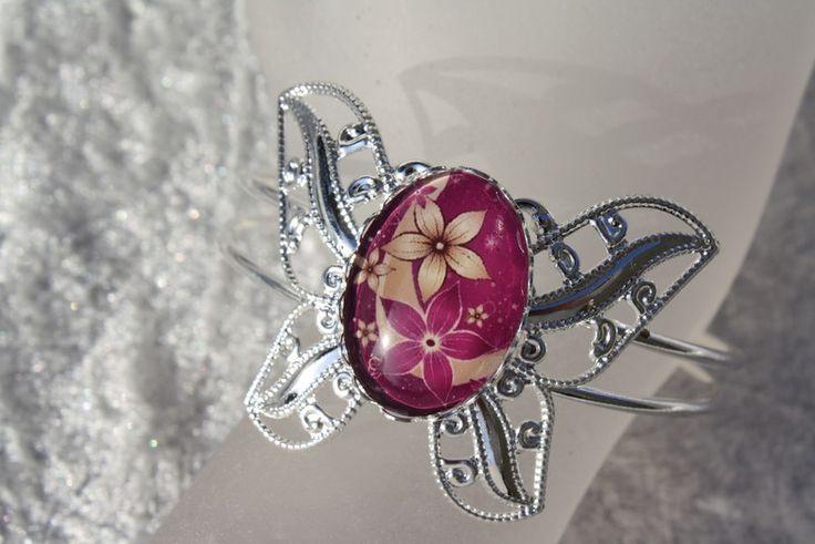 Armreife - Armreif Armspange Ring weinrot silber Blume - ein Designerstück von trixies-zauberhafte-Welten bei DaWanda