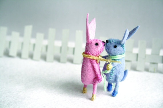 Mini Spring Bunny: Miniatures, Rabbit, Easter Carrots, Minis Spring, Friends, Blue, Spring Bunnies, Felt Things, Dreams Cars