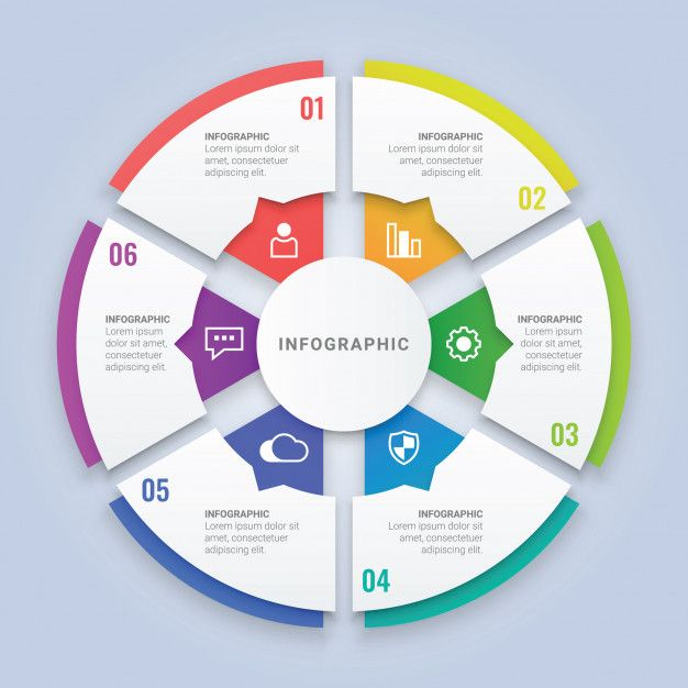 3d Circle Infographic Template With Six Options For