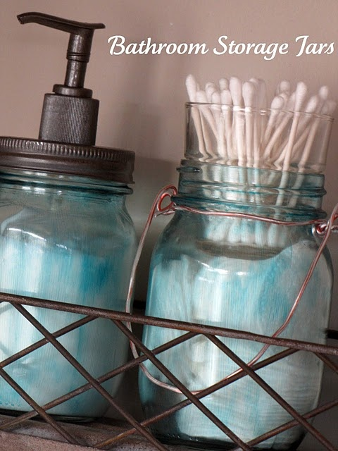 mason jars: Masons, Storage Projects, Bathroom Storage, Storage Jars, Bathroom Ideas, Mason Jars, Bathroom Decor, Diy