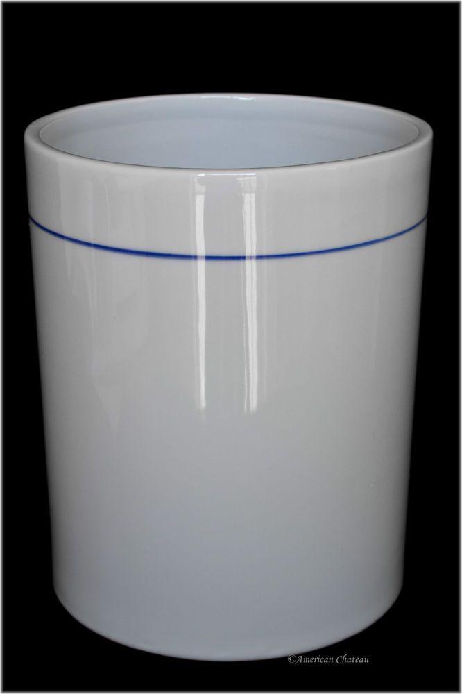 Scandinavian-Style White Porcelain Waste Basket Trash Garbage Can w/ Blue Stripe    eBay