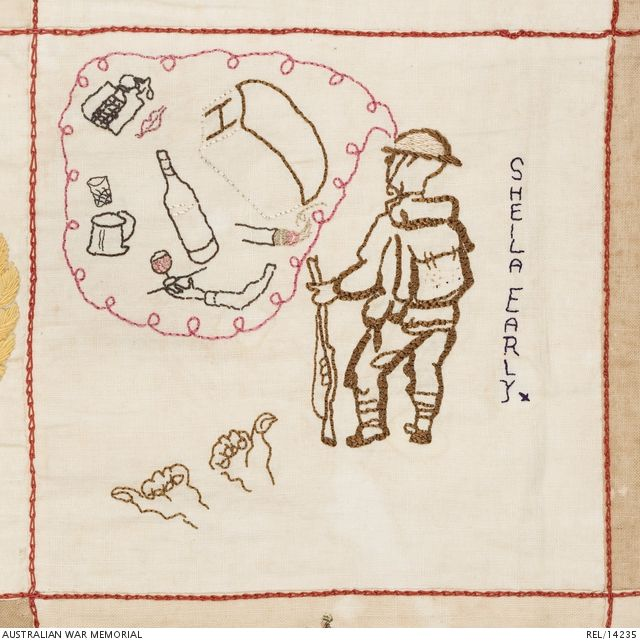 Detail of embroidered Australian Changi quilt: Female internees, Changi Prison. 1942 (Brown and cream chain and stem-stitch figure of a Tommy with a steel helmet, pack and rifle, and brown stem-stitch hands giving the thumbs-up sign. The soldier is dreaming of Hovis bread, wine, cigarettes, women and beer, which are contained within a pink stem-stitch bubble. Dark blue stem-stitch signature 'SHEILA EARLY').