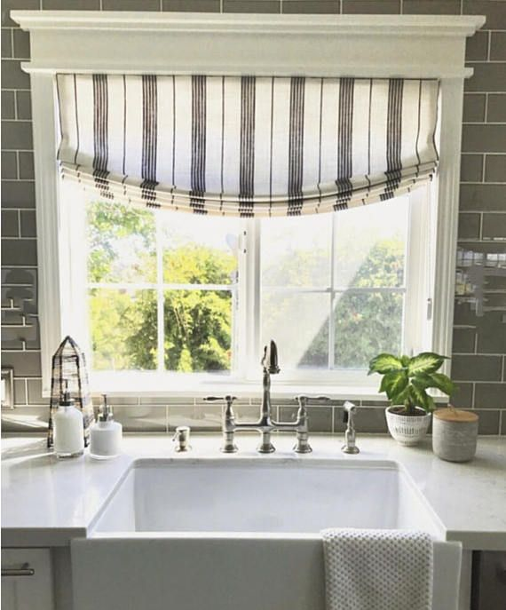 Modern Farmhouse Roman Shades Custom Size Striped Roman Shades Kitchen Window Coverings Roman Shades Kitchen Farm House Living Room
