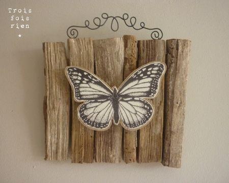 papillon en papier + bois récup + fil de fer = ♥