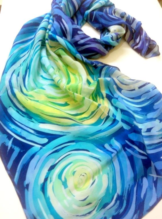 Handpainted silk scarf Hand painted silk Starry sky Handpainted scarves Silk painting Blue shawl Unique scarf Spring fashion Gifts for mom