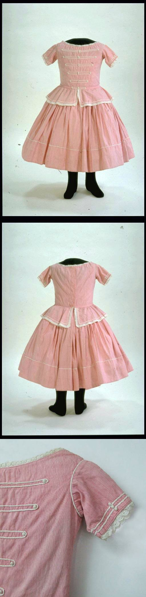 Child's Dress, 1861-70, at the Museum of London. Length 665 mm (centre front, neck to hem). See: http://collections.museumoflondon.org.uk/Online/object.aspx?objectID=object-88227&start=1&rows=1