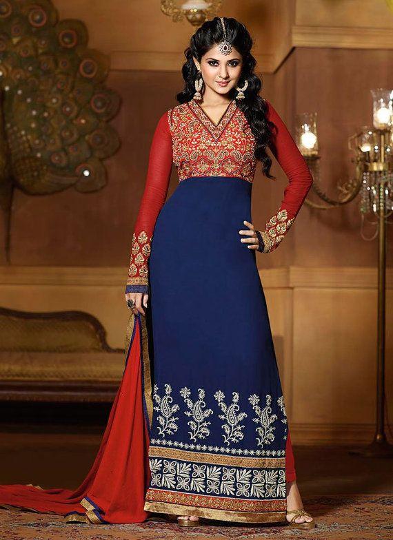 Bollywood Salwar Kameez Indian Salwar Kameez Party Wear Salwar Kameez Attractive Blue Georgette Kumud Straight Anarkali Salwar Kameez Suits