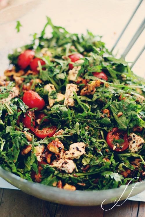 Spicy Arugula Salad with Feta, Harissa, Black Cumin and Pomegranate Syrup