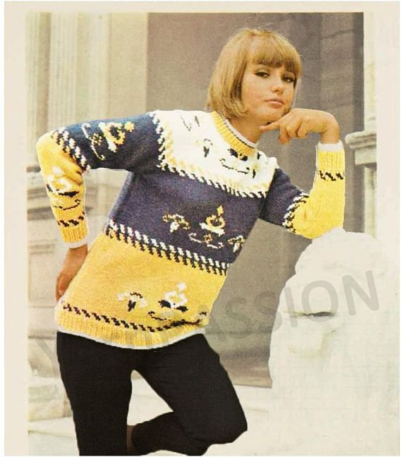 Modern Fair Isle Jumper in 5 sizes 81 102 cm 32 to 40 knitting pattern can be found at Etsy shop called YarnPassionDesigns