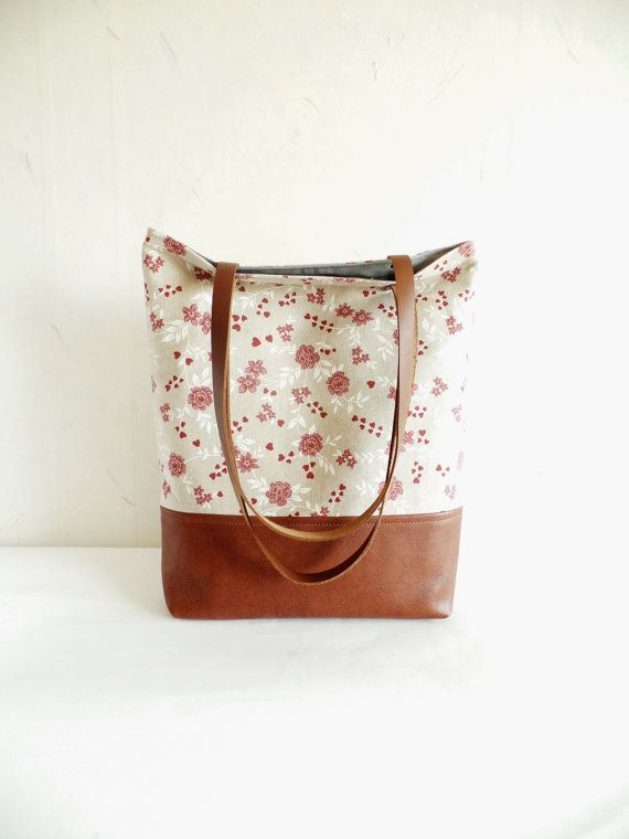 Leather and cotton tote bag Aurora red floral print by allbyFEDI