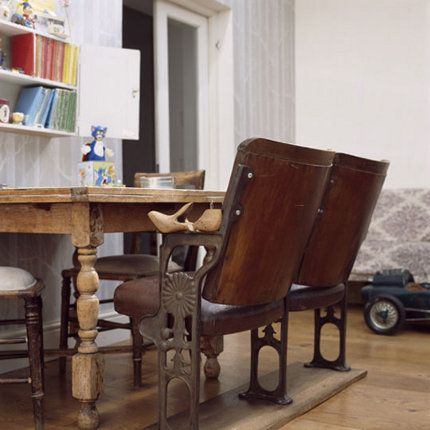 Must haves for playwrights.    Vintage theater chairs repurposed as table seating