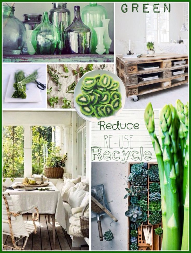 Reduce re-use recycle! Interiordesign moodboard lifestyle! Green, wood, health, food, fit