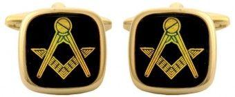 Black Masonic Onyx Cushion Cufflinks - £25.99