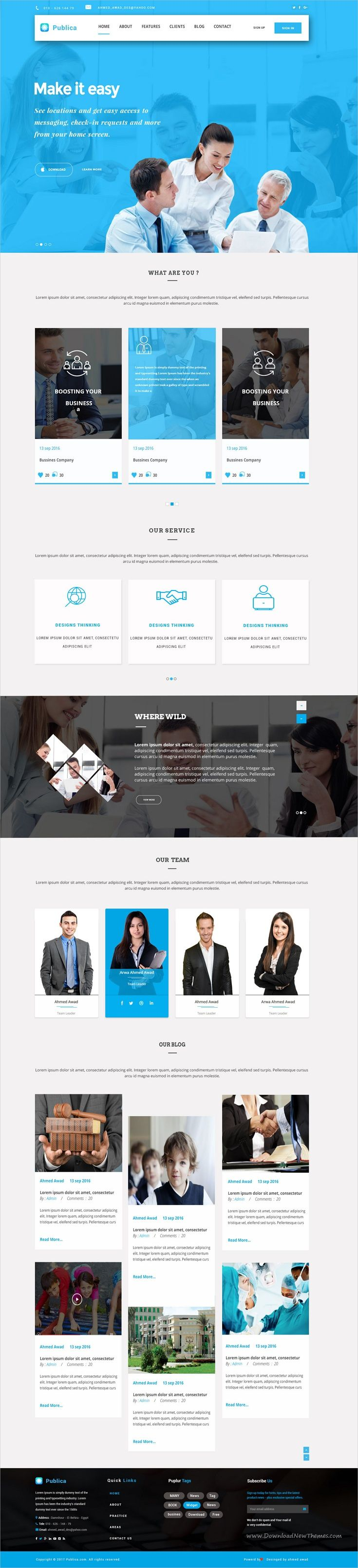 Publica is a wonderful premium #PSD #template for stunning #agencies websites download now➩ https://themeforest.net/item/publica-psd-template/19254470?ref=Datasata