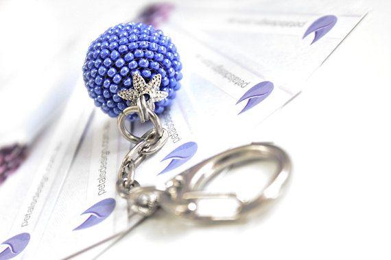 Blue Keyring. Beaded Blue Keychain. Blue Party by PetalsDesignAU