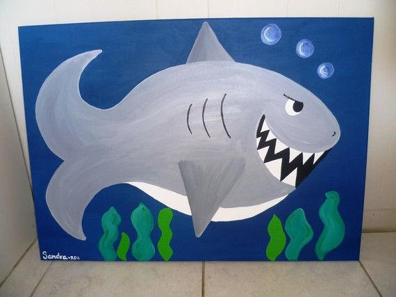 Shark painting for kids room