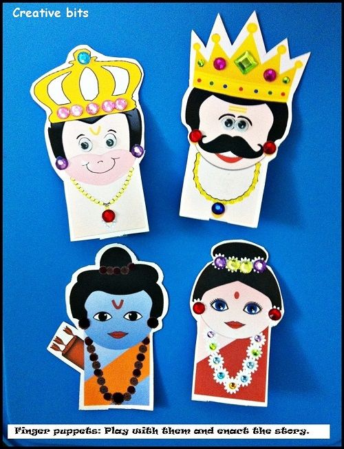 Rs. 150. DIY Finger puppets - Rama, Sita, Hanuman and Ravana. Decorate the characters, then watch your child narrate the Ramayana story in all its glory! Pairs well with the Amma Tell Me About Diwali book.