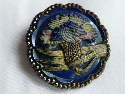 Antique Cobalt Blue Glass Button w/Carnation Flower