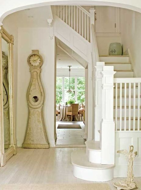 swedish entry.  the floor.Stairs, Interiors, White, Traditional Home, Swedish Style, Floors Mirrors, Staircas, Homes, Grandfather Clocks