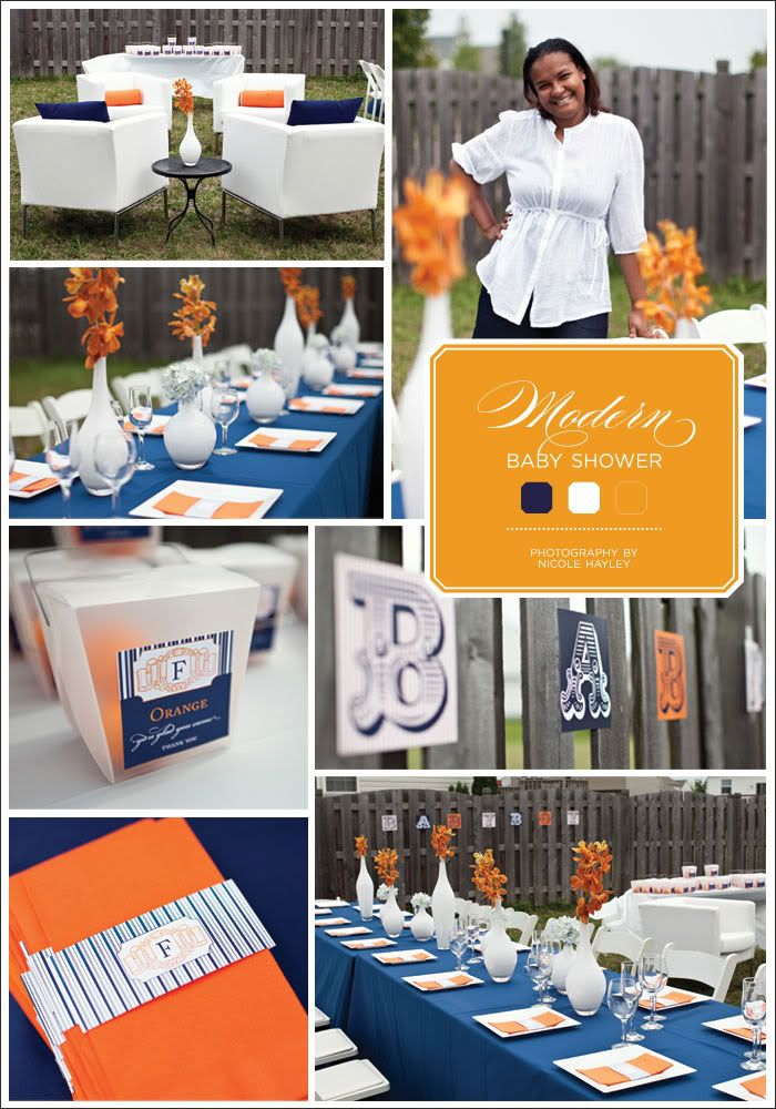 Image detail for -Dooby Design Group: Modern Baby Shower :: Navy and Orange