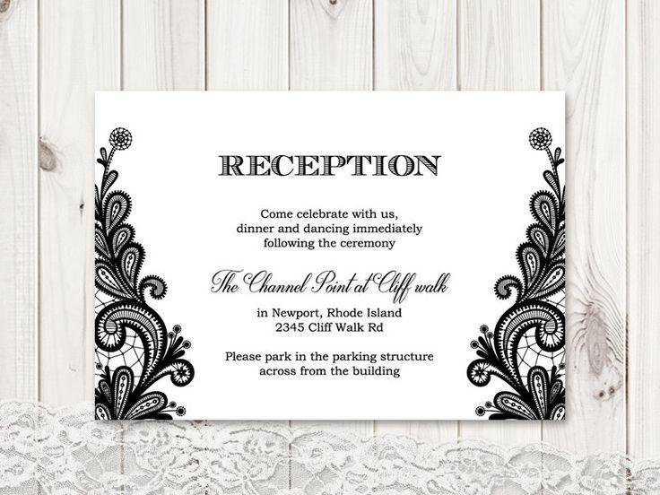Formal Wedding Reception Card Template Vintage Lace Black DIY Printable Insert