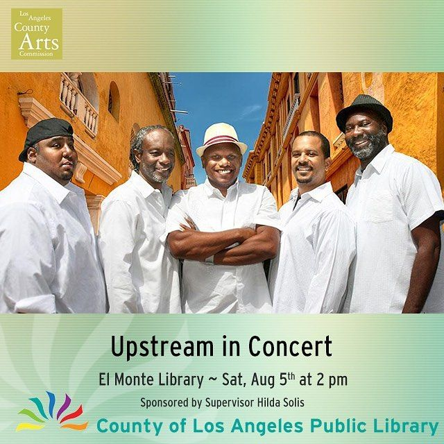 This Saturday bring the family to El Monte Library to enjoy the sounds of Upstream Music! Come and enjoy the mix of reggae and soca music that Upstream brings to the library. You won't want to miss this free familly concert. This concert is sponsored by Los Angeles County Supervisor Hilda Solis through the Los Angeles County Arts Commission - Thank you! http://ift.tt/2u1RBDX @upstreammusic