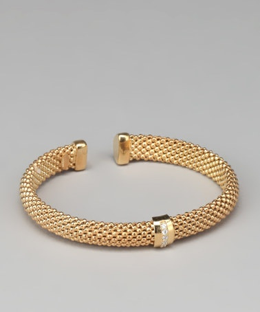 Gold Gem Band Popcorn Open Bangle by Yellow Gold, Inc.