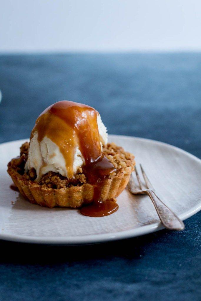 Apple & Walnut Crumble Tarts with Miso Butterscotch Ice Cream