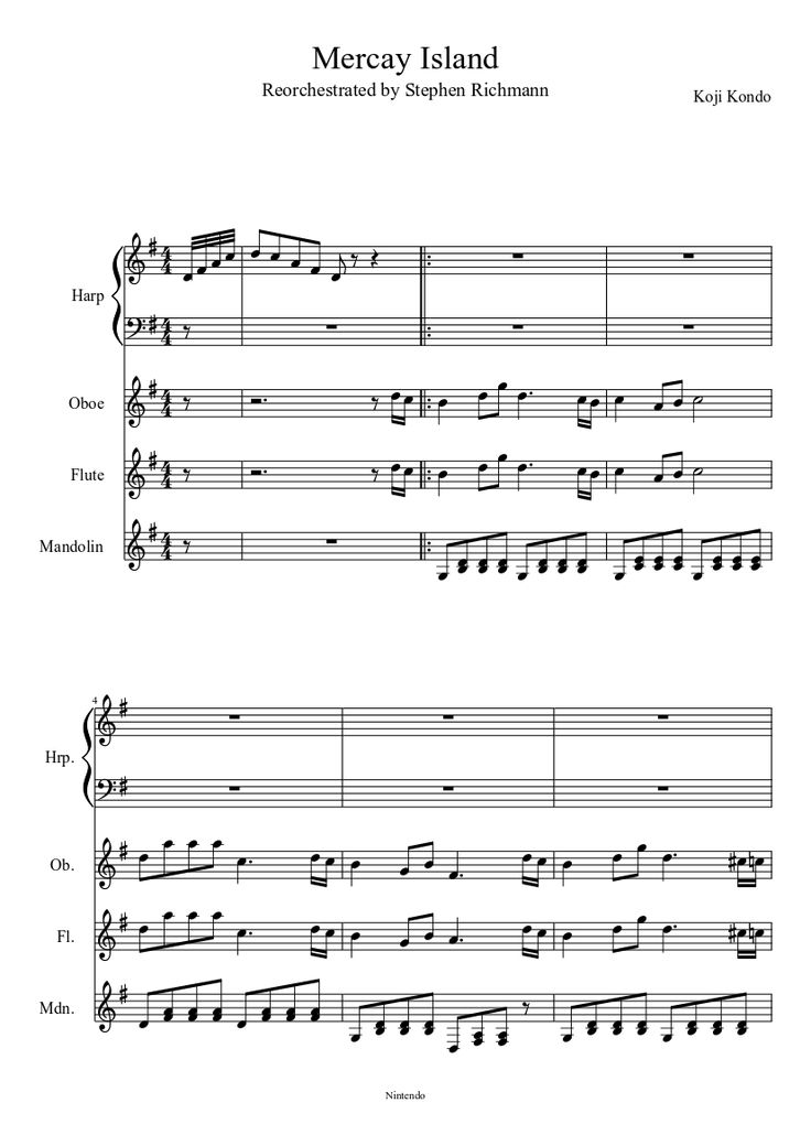 Phantom Hourglass- Mercay Island by TheZeldaPianist on MuseScore for Orchestral Harp, Oboe ...