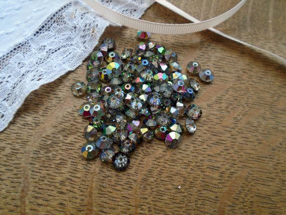 Antique Small Beads Aurora Borealis Foiled Backed by PositivelyFlo