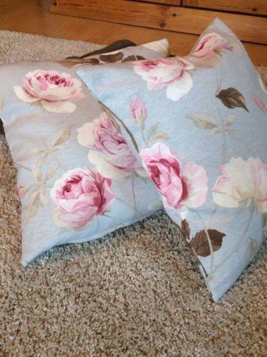 Kissenbezug-40x40-blau-rosa-Rosen-Shabby-Vintage-pastell-Kissenhuelle-ohne-Kissen