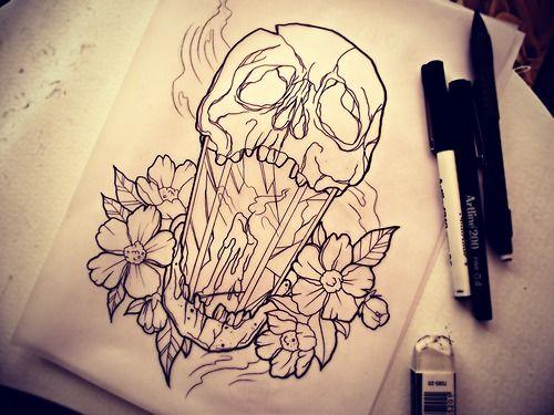 lahlulala:    last night's sketches.  skull lantern draft.