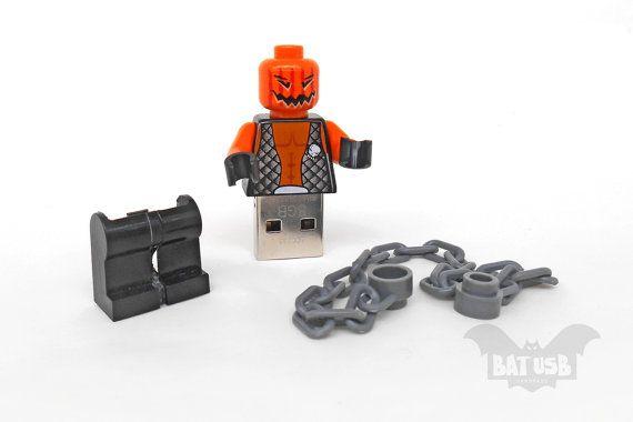 BAT™ 8/16/32/64GB USB flash drive - Memory Stick - Lego® original Minifigure - Halloween Evil Pumpkin Jack O' Lantern chain - With legs cap by Think4HandmadeArt, €40.00