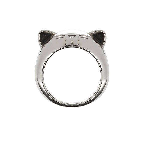 Silver Big Kitty Ring.