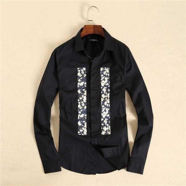 Solde Chemise Givenchy Homme Panneau Floral Manche Longue Noir Pas Cher S93v8442