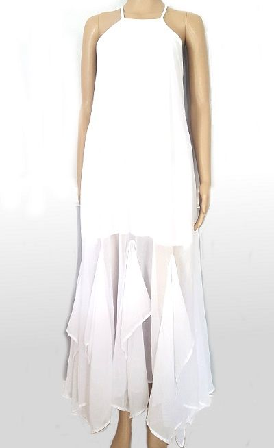 Buy Frill halterneck chiffon long dress Whitefor R539.00