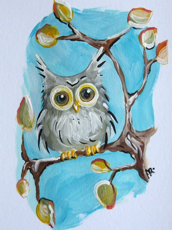 Fall Foliage Hoot Owl. Original Acrylic Painting.    This is an original painting on heavy weight matte 100% cotton rag fine art paper.