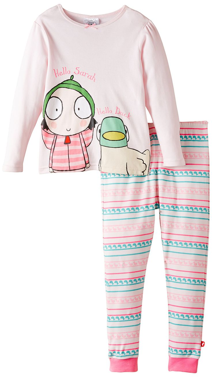 Sarah & Duck Girl's Hello Sarah and Duck Pyjama Set, Pink, 12-18 Months