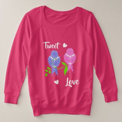 Pretty Lacey Patterned Birds Tweet Love Plus Size Sweatshirt - girly gift gifts ideas cyo diy special unique